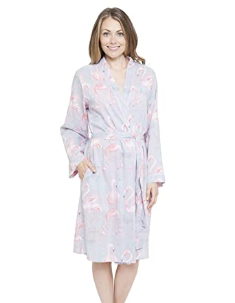 Cyberjammies 4115 Womens Zara Grey Flamingo Print Dressing Gown Loungewear Bath Robe Kimono 34