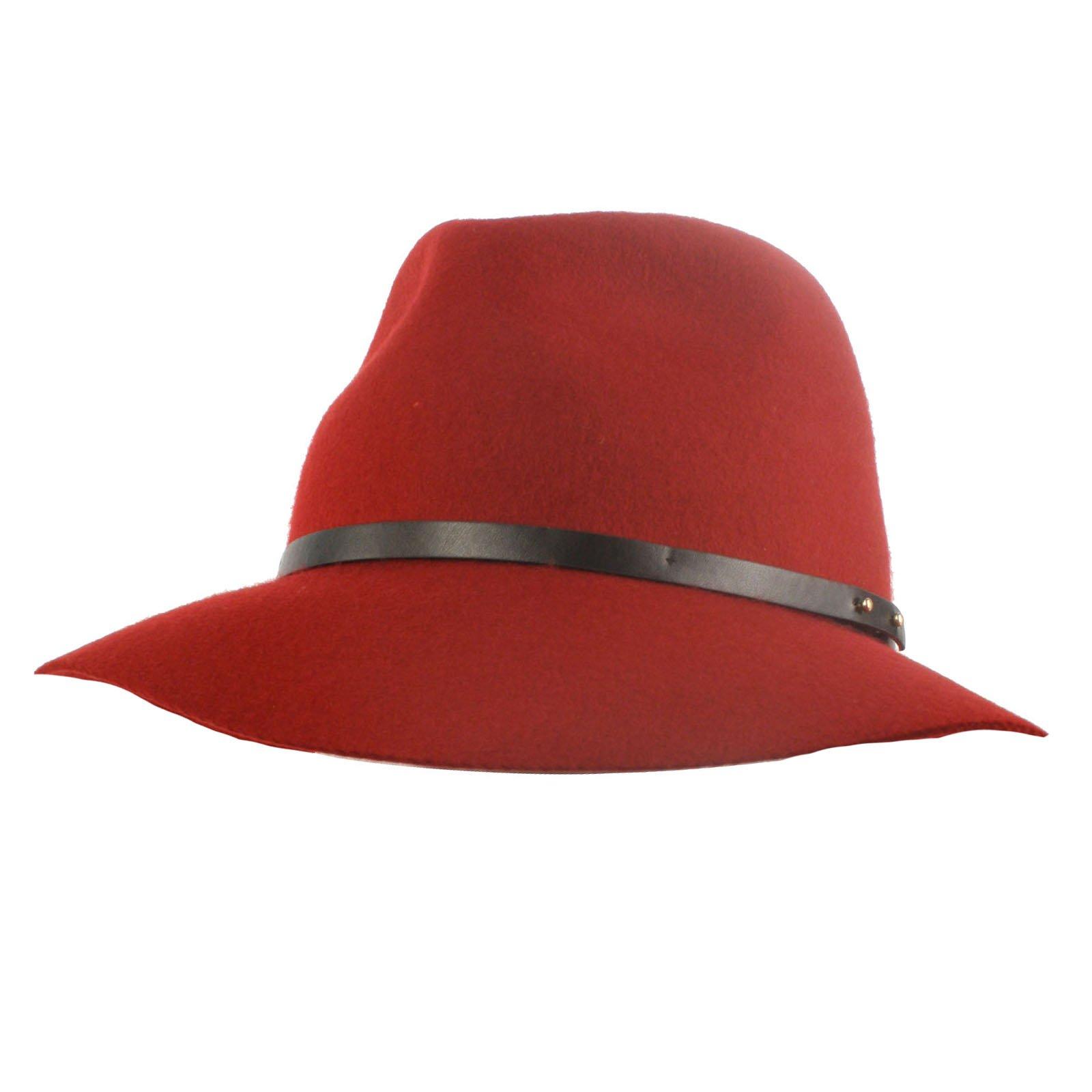 633a213375b SK Hat shop Winter Soft 100% Wool Felt Fedora Floppy Panama 3-1 8 Wide Brim  Dress Hat Wine Apparel