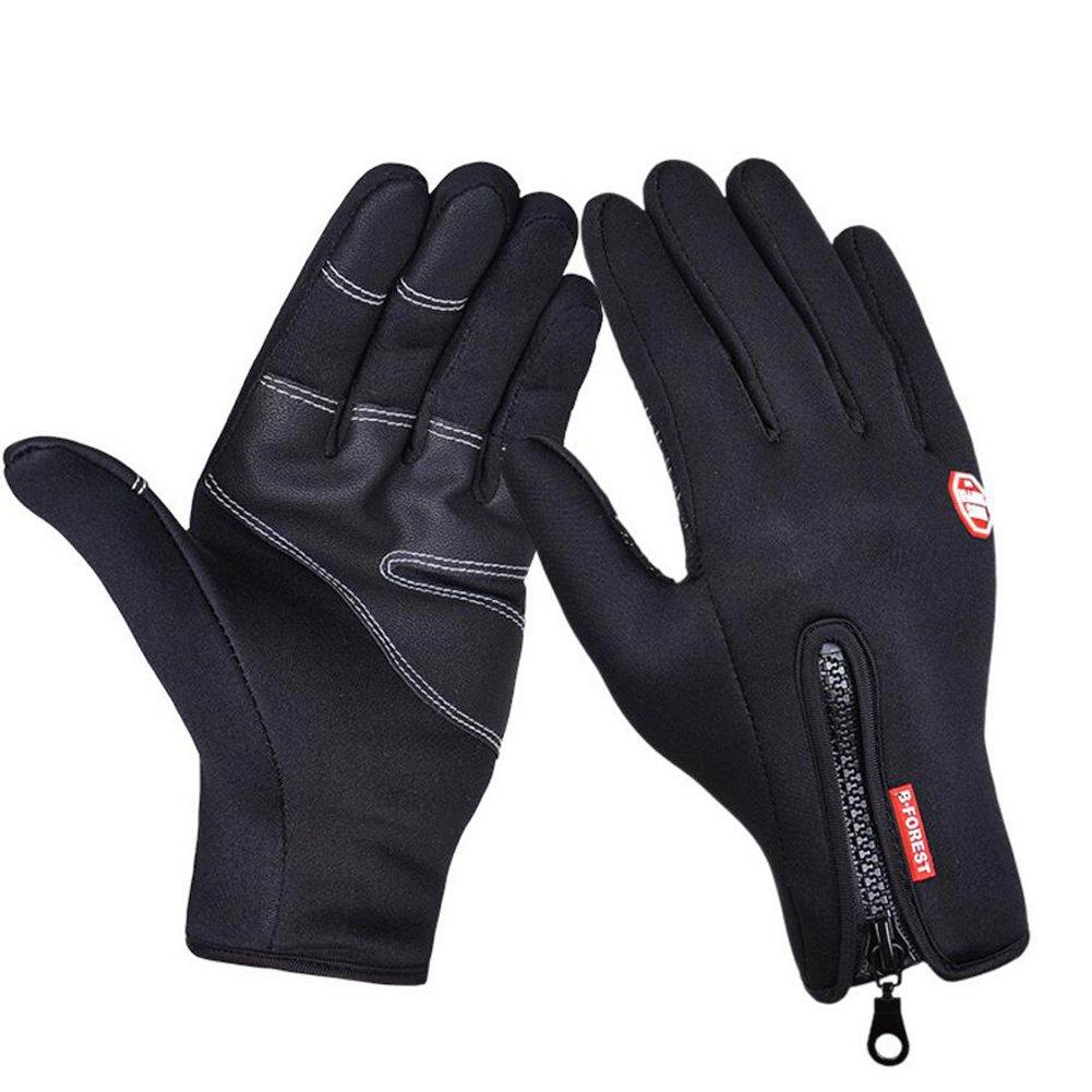 IKuaFly Reißverschluss Handschuhe Draussen Touch-Screen-Handschuhe Winddicht Für Sport, Ski, Radsport, Jogging-3 Größen für Männer und Frauen
