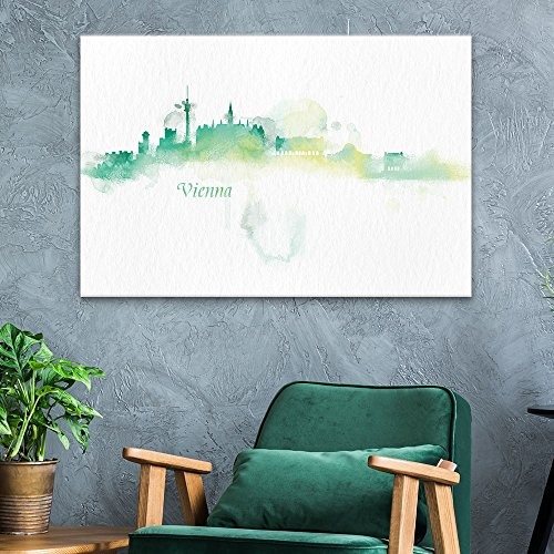 - wall26 Canvas Wall Art - Impressionism Watercolor Style City Landscape of Vienna - Giclee Print Gallery Wrap Modern Home Decor Ready to Hang - 24x36 inches
