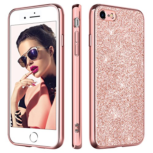 BENTOBEN Phone Case for Apple iPhone 8/7, Slim Stylish Protective Shockproof Phone Cases Luxury Glitter Sparkle Bling Pretty Cover Cases Shiny Girly Phone Cover with Lanyard for Girls Women, Rose Gold ()