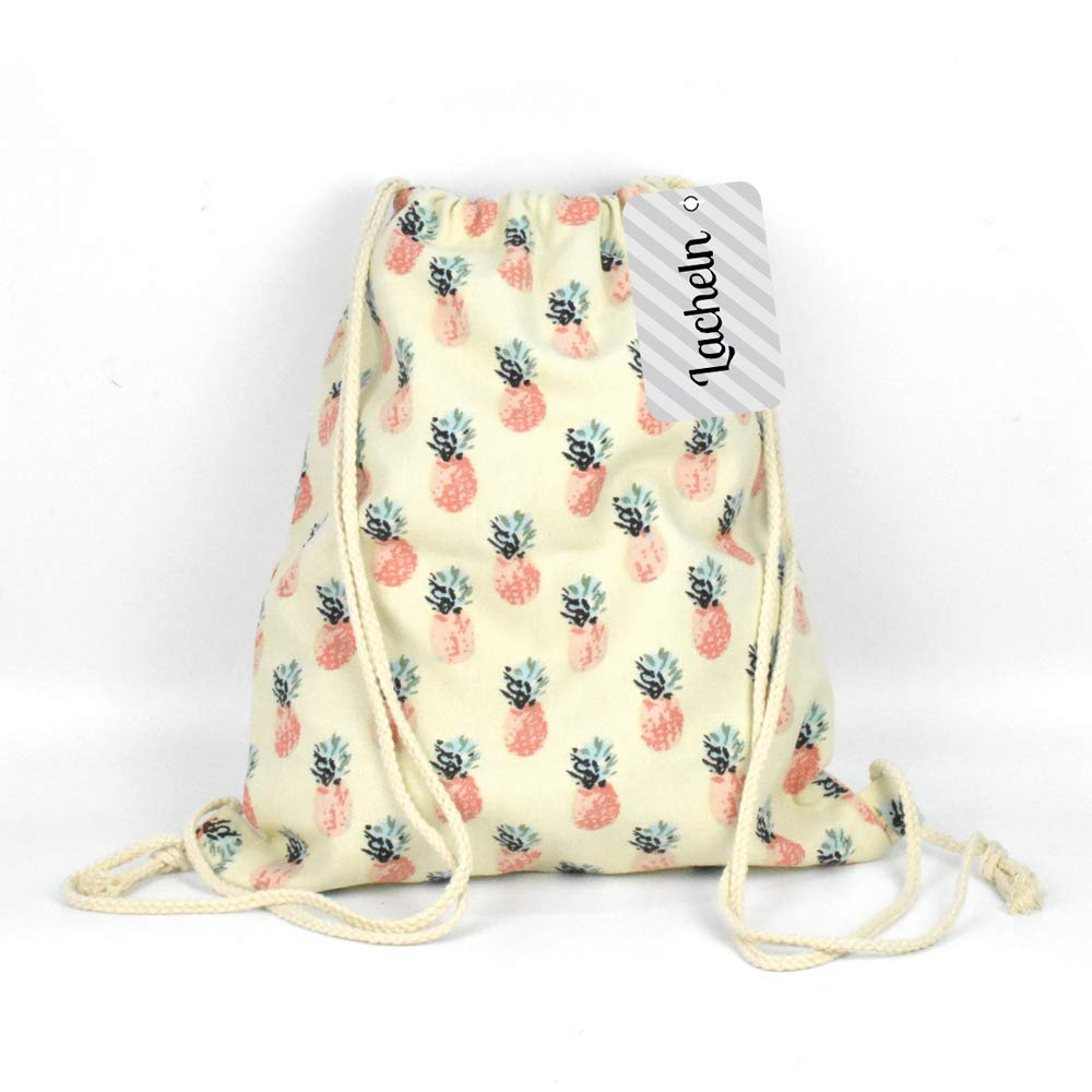 Amazon.com   Lacheln Canvas Drawstring Backpack Travel Sackpack Bag Gym Outdoor Sports Portable Daypack for Girl Boys Woman Female, Pink Pineapple ...