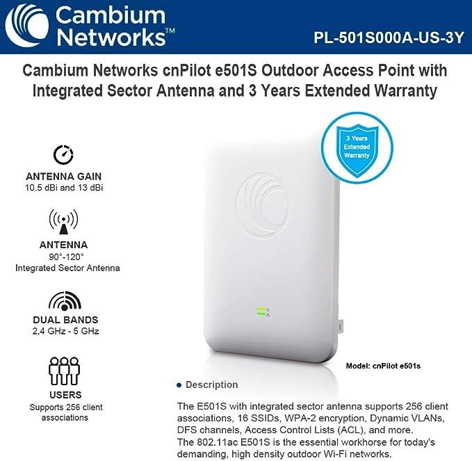 Cambium Networks cnPilot e501S 802.11ac Punto de Acceso ...