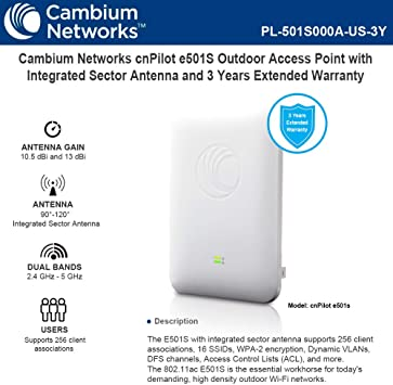 2x2 MU-MIMO cnPilot e430H High Powered Indoor 802.11ac Wave 2 Cambium Networks Wall Plate WLAN Mesh Integrated BLE AP| PL-E430H00A-US