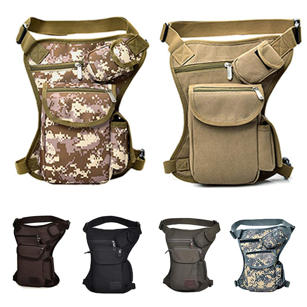 Multi-Function Travel Fishing Hiking Cycling Sport Outdoor Use Casual Thigh Pack SAXTEL Mens Drop Leg Bag Motorcycle Riding Thigh Fanny Waist Packs Canvas Waist Pack