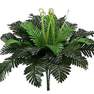 HO2NLE 2PCS Artificial Boston Ferns Shrubs Silk Fake Greenery Plants Home Garden Wedding Patio Outdoor Balcony Hanging Pot Decor 44