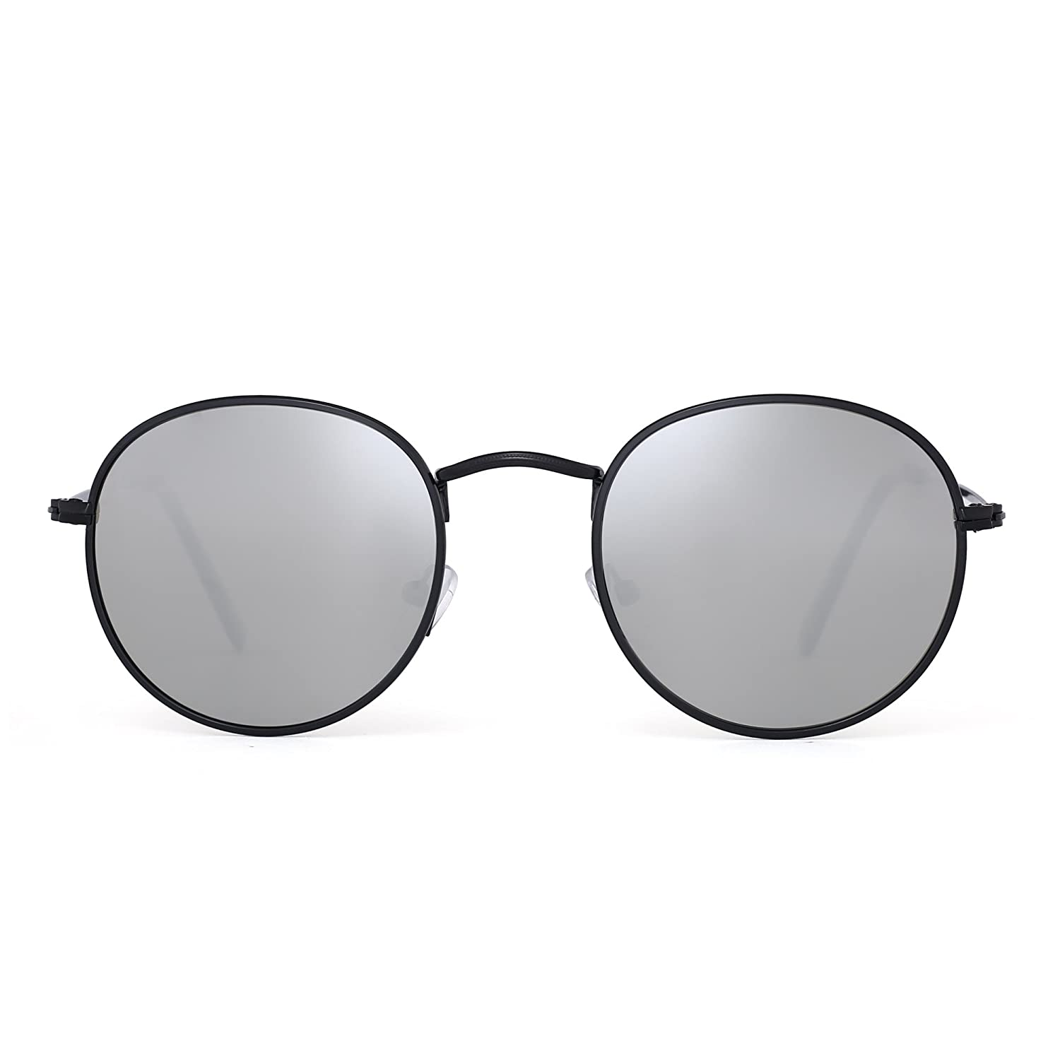 Polarized Small Round Sunglasses Retro Mirror Circle Lens Metal Frame Men Women ZT3590 C3