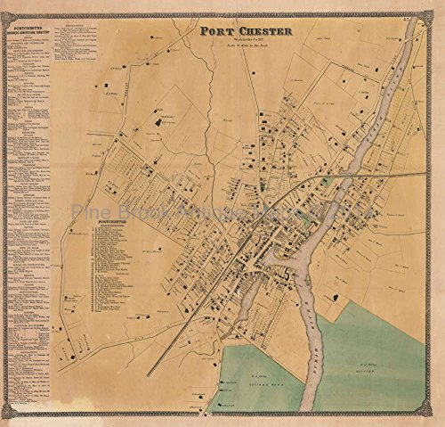 Chester Beer (Port Chester New York Antique Map Beers 1868 Authentic Westchester County Decor Gift Ideas)
