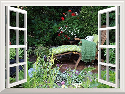 Removable Wall Sticker Wall Mural Deck Chair in a Quiet Garden with Beautiful Flowers Creative Window View Wall Decor