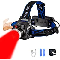 Red Light Headlamp 18650 USB Rechargeable Headlamp Zoomable Red LED Headlight with 3 Red Beam Mode for Camping Hiking…