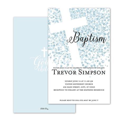 amazon com confetti dots personalized baptism invitation blue