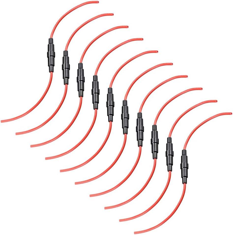 sourcing map en Ligne Vis Type Fusible Support 18 Jauge AWG 20Pcs 5mm x 20mm Tube Fusible