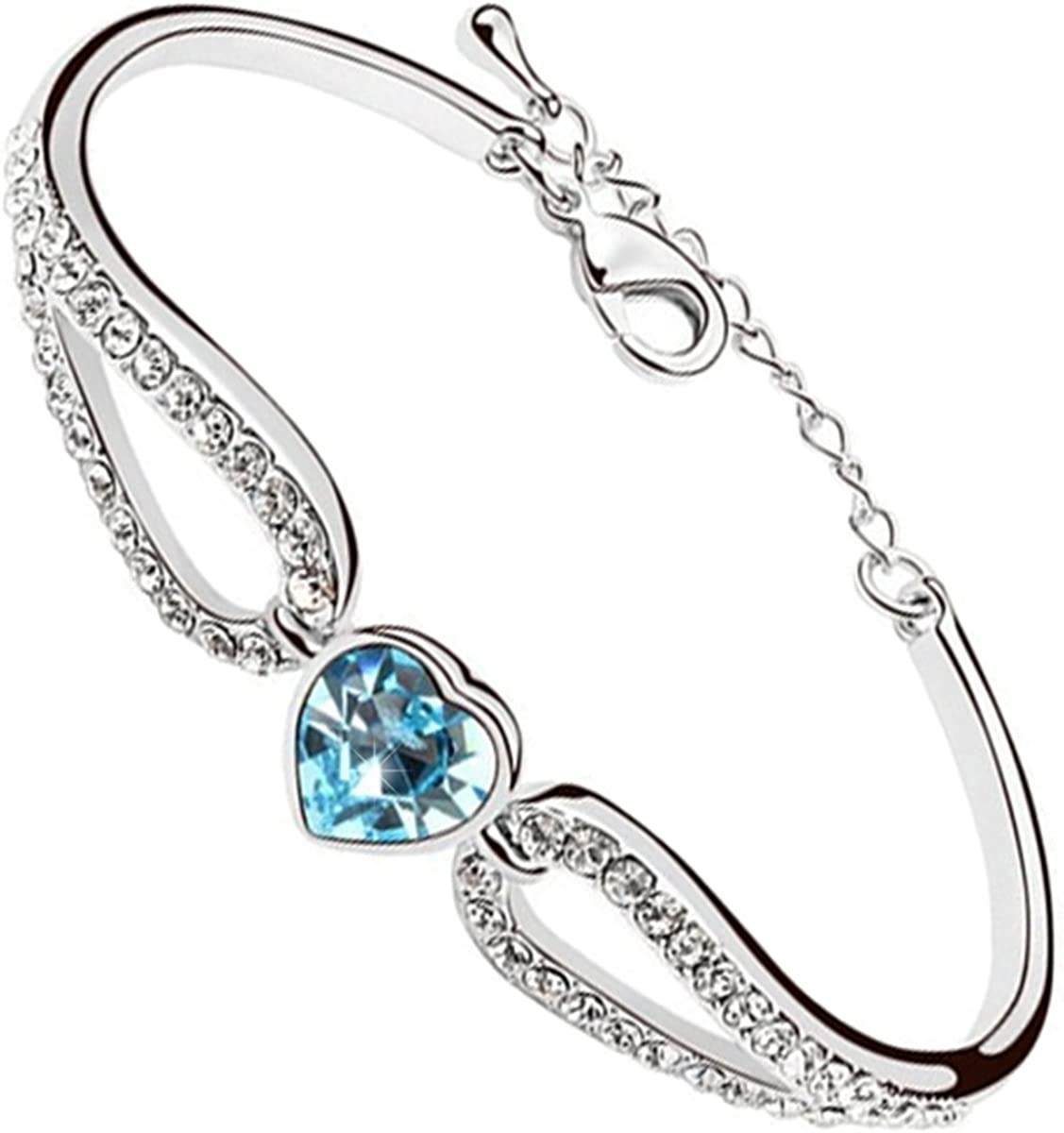 Amazon.com: GWG Women's Bracelets Gift Sterling Silver Plated Aquamarine  Sea Blue Heart Crystal Hold with Cuff Bands Embellished with White  Sparkling Stones Love Bracelet for Women: Jewelry