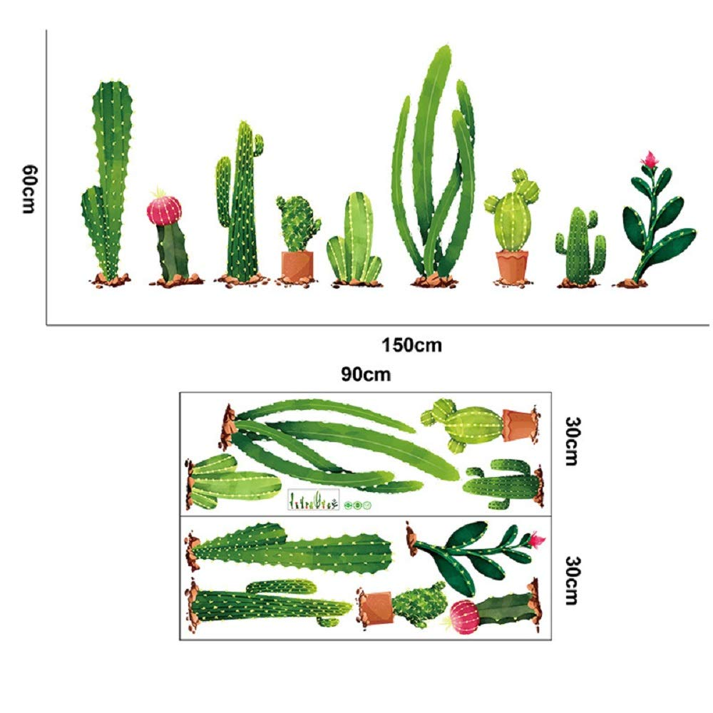Runtoo Cactus Wall Decals Green Plants Nature Wall Stickers Home Decoration Living Room Bedroom Kids Room Wall D/écor
