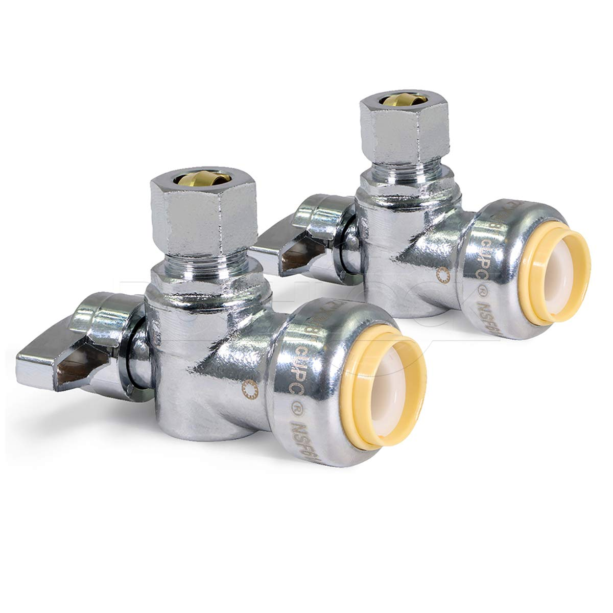 Pushlock UPASC1214-2 1/4 Turn Angle Stop Valve Water Shut Off 1/2 Push x 1/4 Inch Compression Chrome