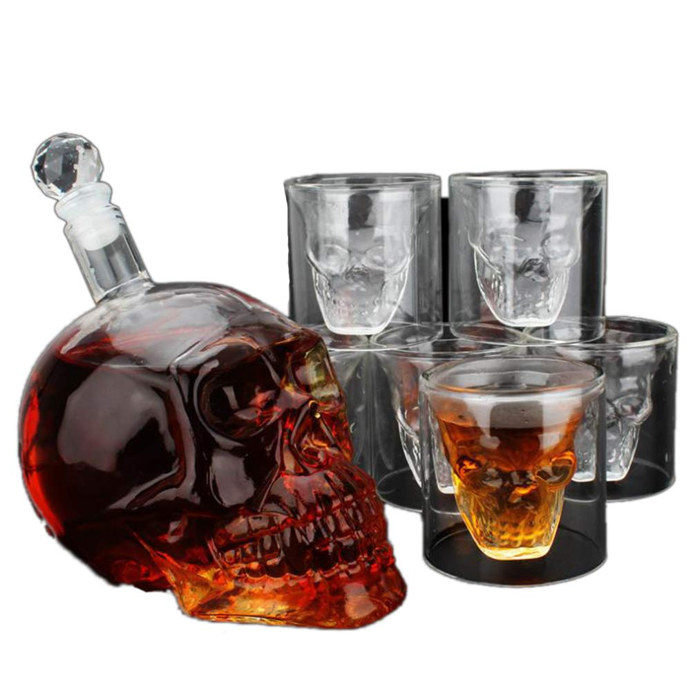 Union Power Skull Shape Whiskey Decanter Set with 6 Etched Whiskey Glasses - White Wine, Scotch Whisky, Bourbon, Vodka, Wine, Beer - Bar Funnel 700ml+675ml Christmas gift
