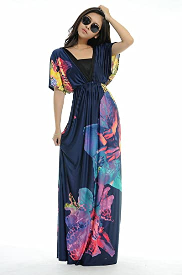 Amazon.com : Women Plus Size Floral Maxi Bohemian Beach Summer ...