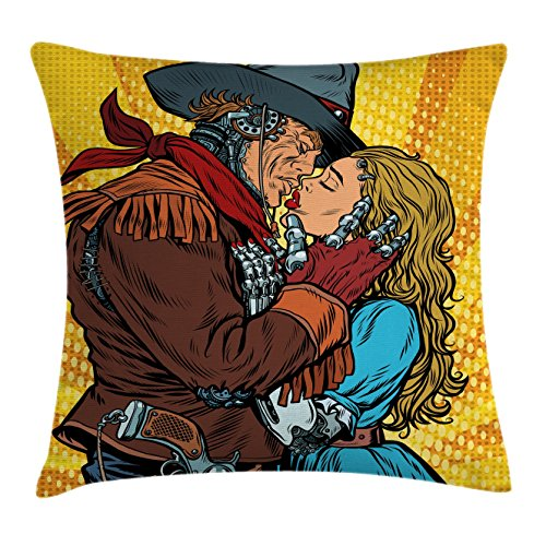 Ambesonne Western Decor Throw Pillow Cushion Cover, Steampunk Robots Western Style Cowboy Kisses the Girl Illustration, Decorative Square Accent Pillow Case, 16 X 16 Inches, Yellow and Brown