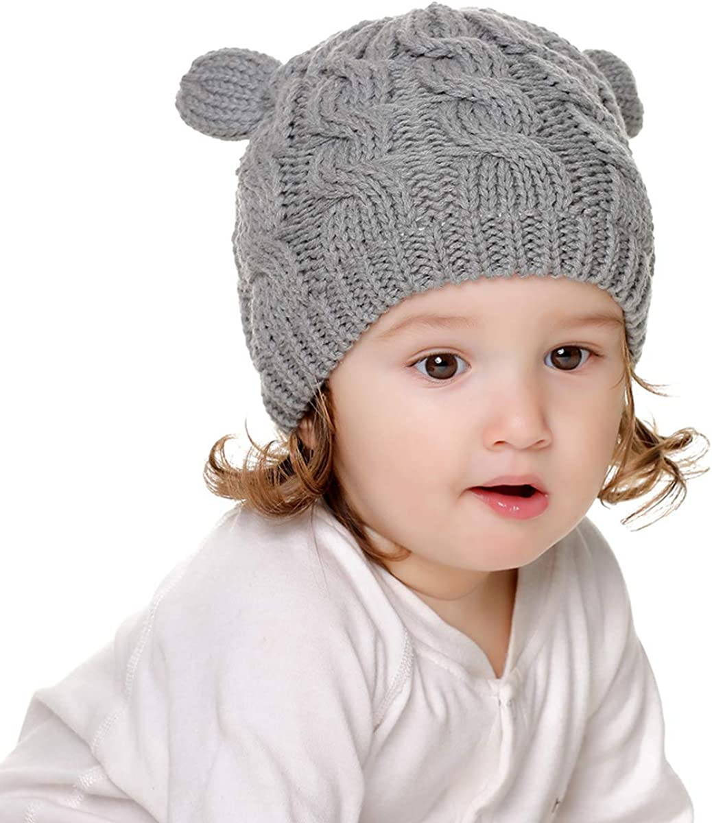 Yuehuam Baby Hat and Mitten Set Knit Toddler Winter Warm Fleece Beanie Cap Gloves for 0-18M Newborn Boy Girl
