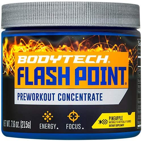 BodyTech Flash Point Pre Workout Concentrate for Energy, Focus Stamina, Pineapple 201 Grams Powder