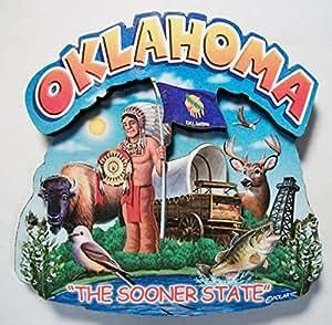 Oklahoma the Sooner State Artwood Montage Fridge Magnet