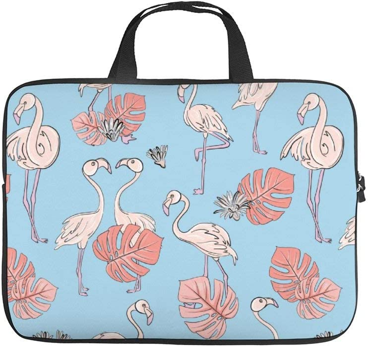 """Seamless Flamingo and Monstera Leaves 10 Inch Laptop Sleeve Case Protective Cover Carrying Bag for 9.7"""" 10.5"""" Ipad Pro Air/Samsung Galaxy Tab"""