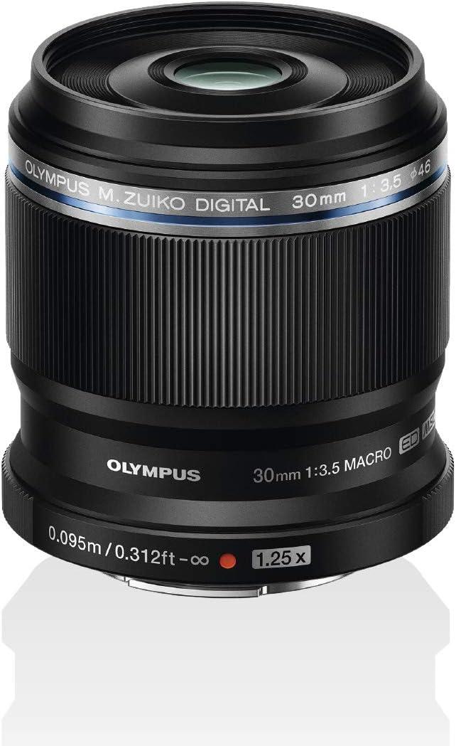 Olympus M.Zuiko Digital ED 30 mm F3.5 Macro Objetivo, Adecuado para Todas Las cámaras MFT (Modelos Olympus OM-D & Pen, Panasonic G-Series), Negro