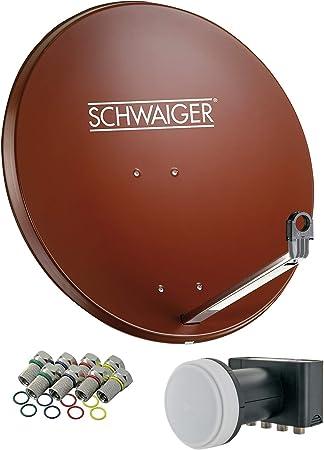 SCHWAIGER -555- Sistema satelital | antena satelital con LNB cuádruple (digital) y 8 conectores F de 7 mm | antena satelital de aluminio | rojo ...