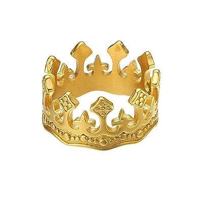 6f431df12395a MINGHUA Men Women Alloy Ring Vintage Engraved Crown Cross Couple ...