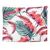 Breezat Tapestry Bohemian Tropical Flowers Palm Leaves Orchid Pink Feathers Floral Pattern Boho Style Jungle Home Decor Wall Hanging for Living Room Bedroom Dorm 60x80 Inches
