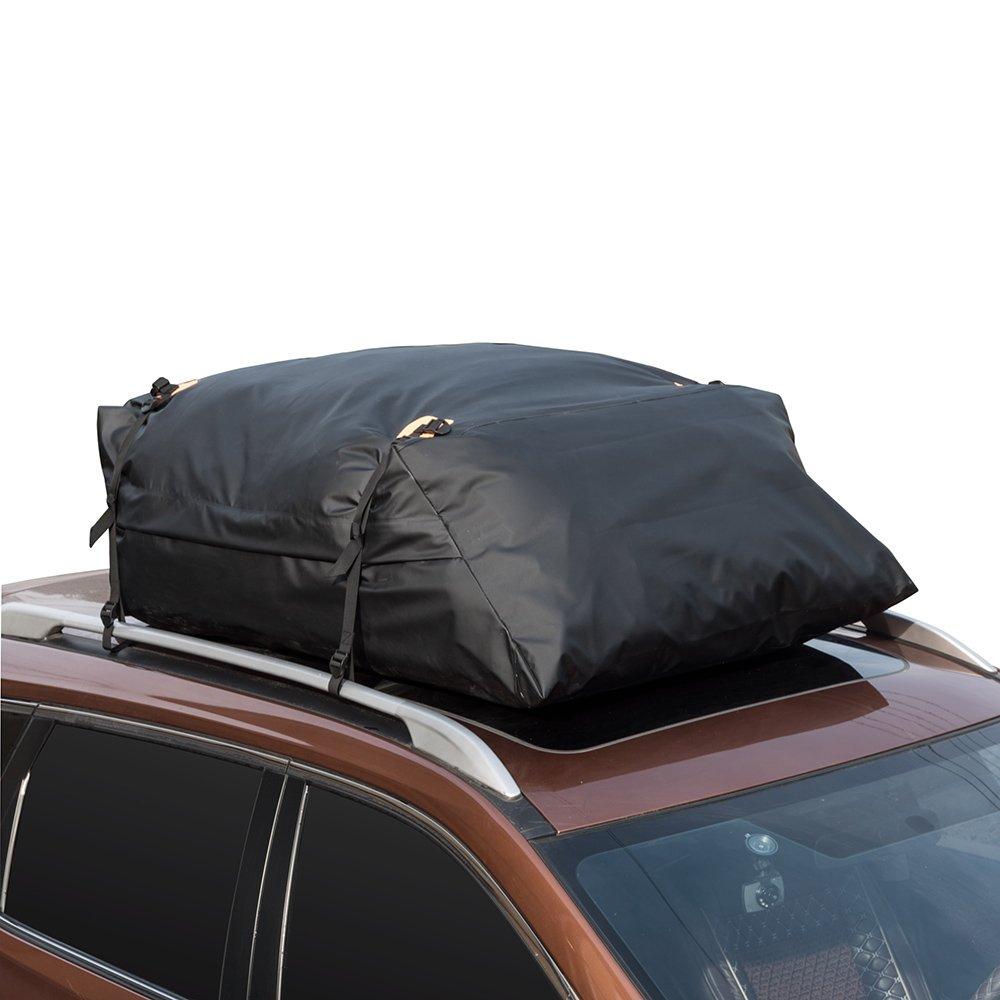 MARKSIGN 100% Waterproof Car Rooftop Cargo Carrier Bag, 17.5 cu ft, Waterproof Zipper and Rain Flap, Nylon UV Proof Straps Fits Vehicles with Side Rails or Cross Bars, Aerodynamic Design by MARKSIGN