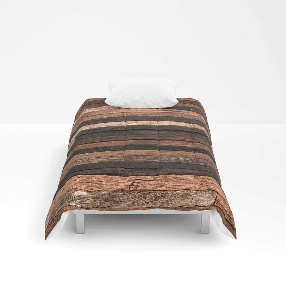 Society6 Comforter, Size Twin: 68'' x 88'', Vintage Wood Plank by Patternmaker