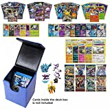 Playoly Pokemon Premium Collection 100 Cards with GX Mega EX Shining Holo 10 Rares 4 Booster Pack - Blue Dragonhide Deck Box and Figure