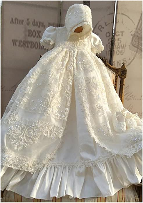 BuyBro Ivory Baptism Christening Gowns for Girls Beading Lace Dedication  Dress Long 3 Months ae9949d226a