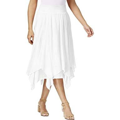 Style Co Womens Smocked Layered Knit Skirt White Xxl At Amazon