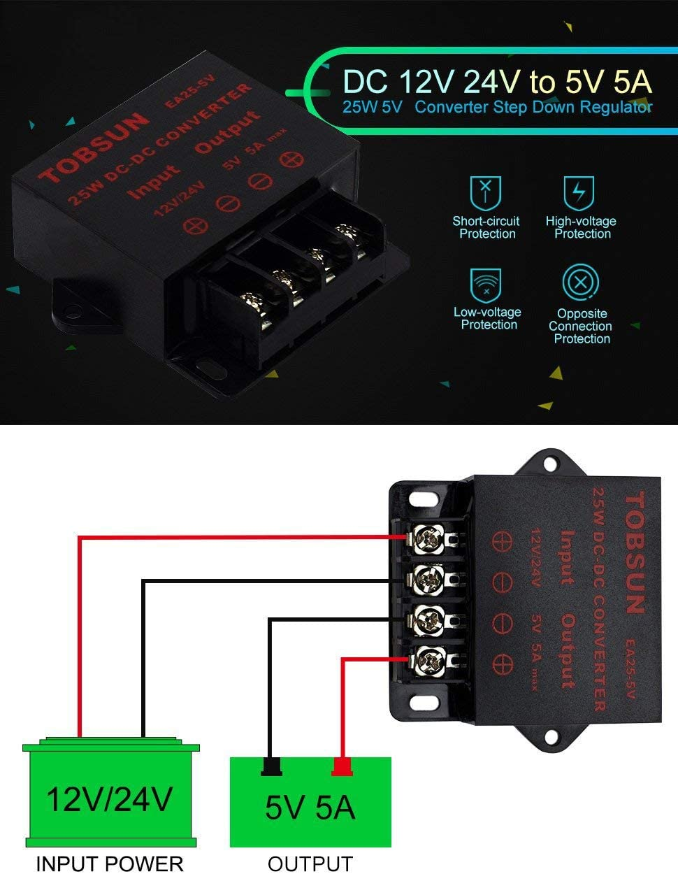 EPBOWPT DC 12V 24V to DC 5V 10A 50W Converter Regulator 5V 50W Power Supply Step Down Module Transformer