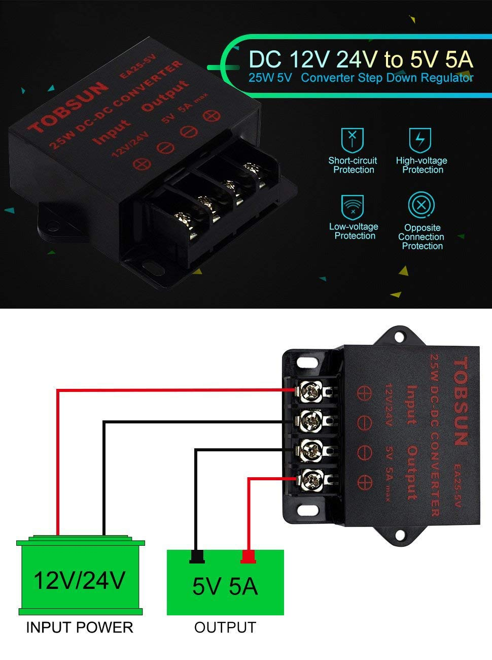 Epbowpt Power Converter Regulator Dc 12v 24v To 5v 5a Regulated Supply With Overvoltage Protection Schematic 25w Step Down Module Transformer Garden Outdoor