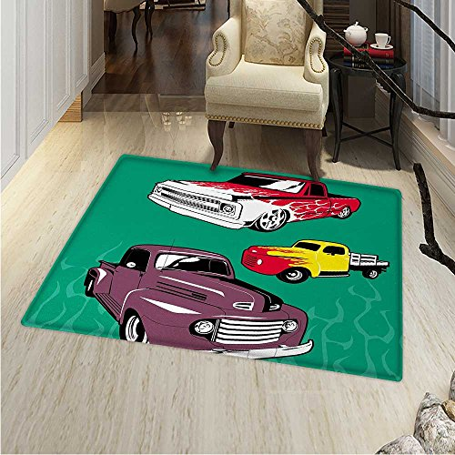 Truck Rugs Bedroom Colorful Vintage Pickups Flatbed Flame Motif in The Hood Retro Vehicle Design Circle Rugs Living Room 4'x5' Multicolor ()