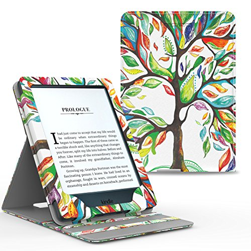 Price comparison product image MoKo Case for Kindle Paperwhite,  Premium Vertical Flip Cover with Auto Wake / Sleep for Amazon All-New Kindle Paperwhite (Fits All 2012,  2013,  2015 and 2016 Versions),  Lucky TREE