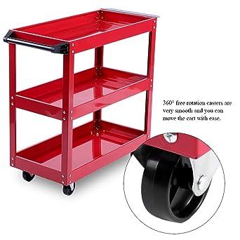 Carrito de almacenamiento de herramientas, 3 estantes de almacenamiento para herramientas de baúl con ruedas