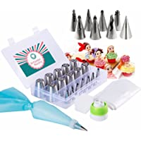 Russian Piping Tips Set 32 Pcs-The only complete Cake Decorating set(10 Russian tips X8 Doll Dress Tips X10 Disposable Bags X1 Reusable Icing Bag X2 Coupler-TRI colorsingle)With bonus storage box