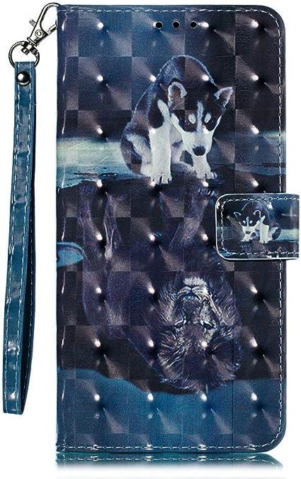 Coopay Blu Cover a Libro Huawei P20 Lite Cane e Leone Motivo Flip ...
