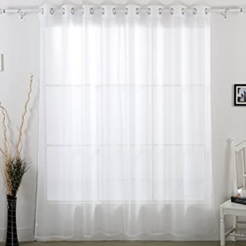 Deconovo Home Decorations Delicate Sheer White Curtains Grommet Wide Width For Dining Room