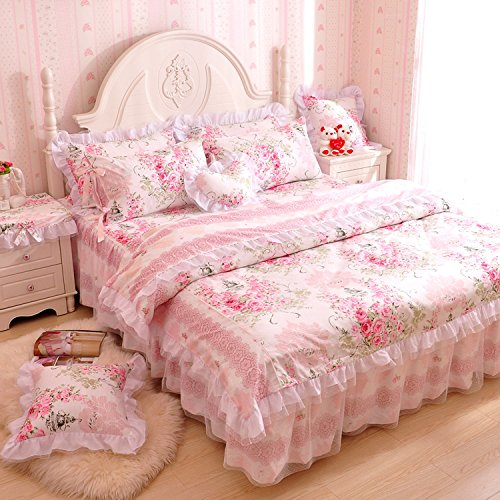 MeMoreCool Home Textile Elegant Design Pastoral Style Floral Lace Princess Bedding Set Girly Ruffle Duvet Cover Fashion Exquisite Falbala Bed Skirt Full Size 4Pcs