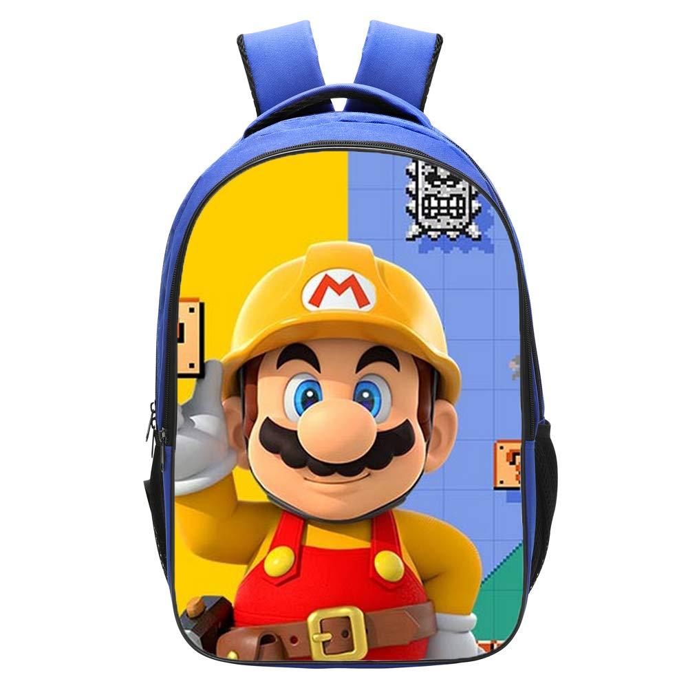 Qushy Super Mario Maker Backpack Schoolbag Bookbag Daypack Blue Bag (b)