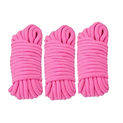 Moonight [Pack of 2/3/4] Long Soft Rope -32-Foot 10m,64-Foot 20m Soft  Twisted Cotton Rope Utility Rope(2/3/4pcs, 10M/20M) (10M, Pink_3pcs_n)
