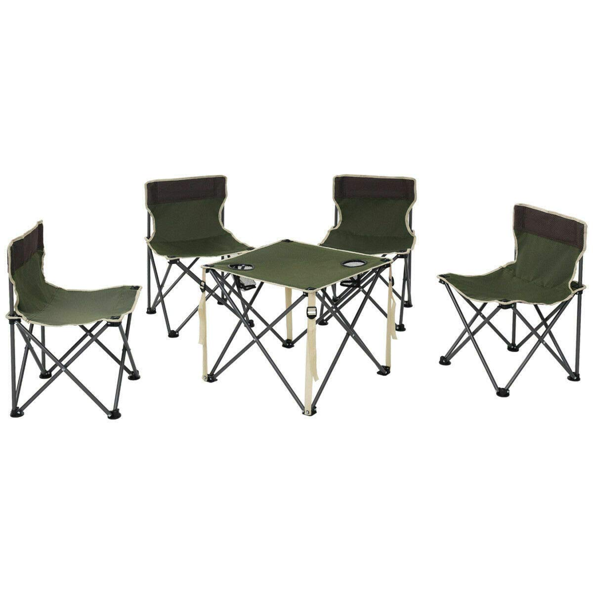 ANA Store Enjoy Barbecue Party Curl Stand Iron Stell Frame Green Oxford Portable Folding Table Chairs Set Inside Outside Camp Beach Picnic with Carrying Bag by ANA Store (Image #3)
