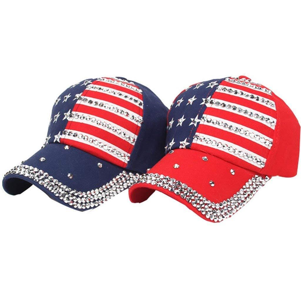 Staron/® Rhinestone Baseball Cap Women Mens Hats American Flag Baseball Cap Summer Casual Snapback Hip Hop Flat Hat
