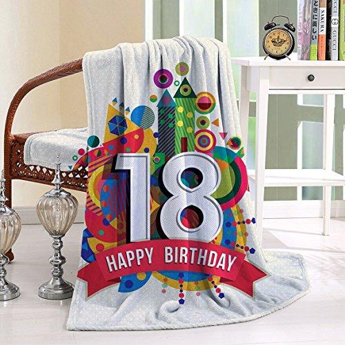 HAIXIA Blanket 18th Birthday Geometric Stipes Dots Shapes Happy Birthday Quote New York Jets Body Pillow