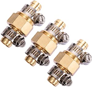 3Sets Brass Garden Hose Mender End Repair Kit Water Hose End Mender with Stainless Steel Clamp,Female and Male Hose Connector (5/8)